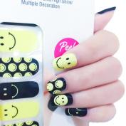 X.T Nail Polish Strips Yellow Smiley Smile Face Happy Pattern Nail Sticker