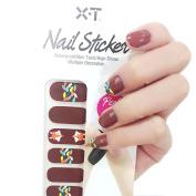 X.T Nail Polish Strips Cute Fox Brown Nail Sticker