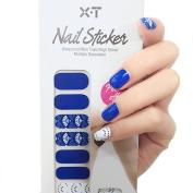 X.T Nail Polish Strips Blue Leaf Fan Nail Sticker