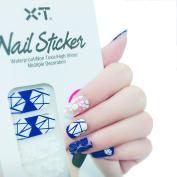 X.T Nail Polish Strips blue diamond Nail Sticker