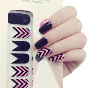 X.T Nail Polish Strips Pink Black Tribal Chevrons Pattern Nail Sticker