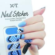 X.T Nail Polish Strips blue Suture design Nail Sticker