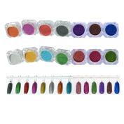 NICOLE DIARY 14 Colours/set Holographic Laser Powder Nail Glitter Gorgeous Glitter Powders