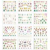 12 Sheets Christmas Nail Decals Stickers Set