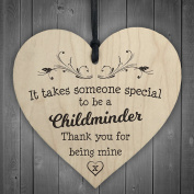 Red Ocean Handmade Wall Plaque Childminder Gift 10cm Hanging Wooden Heart Shabby Chic
