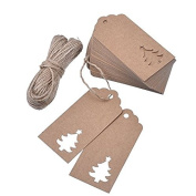100 Pieces Kraft Paper Gift Tags Hollow Christmas Tree with 20m Jute Twines for Wedding Favour Christmas