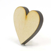 Mylittlewoodshop - Pkg of 6 - Heart - 2.5cm - 1.3cm by 2.5cm - 1.3cm and 0.6cm thick unfinished wood