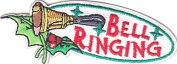 """""""BELL RINGING"""" - IRON ON EMBROIDERED PATCH - CHRISTMAS - HOLIDAY - MUSIC -BELLS"""