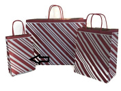 Set/10 SMALL Christmas Gift Bags - Red Peppermint Candy Stripe