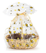 CakeSupplyShop Exclusive Item#20576 -5pack BumbleBee (Yellow & Black) Large (25inchx 80cm ) Cello/cellophane Bags Gift Basket Packaging Bags