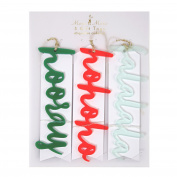 Meri Meri Fa La La Hooray Holiday Message Acrylic Tags