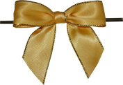 Large Yellow with Gold Edge Twist Tie Bows- 100pc