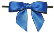 Large Electric Blue with Gold Edge Twist Tie Bows- 100pc