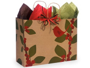 Christmas Gift Bag Bulk Assortment, Set of 75, Rustic Red Cardinal
