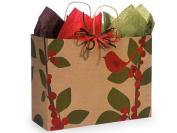 Christmas Gift Bag Bulk Assortment, Set of 75, Rustic Red Cardinal