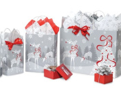 Scandinavian Christmas Gift Bag Bulk Assortment, Set of 75, Silver Reindeer
