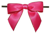 Large Shocking Pink with Gold Edge Twist Tie Bows- 100pc