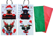 Dog Lover Christmas Gift Bag Wrapping Set with Tissue Paper and Gift Tags