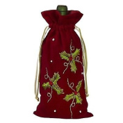Deck The Halls Wine Bag - Embroidered Holly