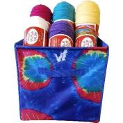 """Yarn & Craft Storage Cube 30cm x 30cm X12""""-Blue Tie Dyed"""