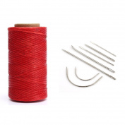 YEHAM Flat Waxed Thread Cord for Leather craft DIY 1 MM 150D 284 Yard come with 7-count Leather Craft Hand Needles