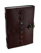 Colourful Chakra Stones Embossed Leather Bound Journal 18cm X 25cm