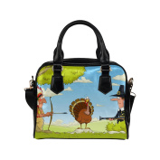 Artsadd Native American And Pilgrim Turkey Hunt Women Shoulder Tote Handbag Bag