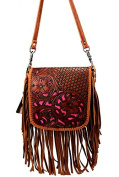 Montana West Leather, Floral Tooled Crossbody Pouch - Brown
