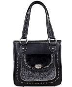 Trinity Ranch Concealed Carry Tote w/ Leather Front Pocket- Black