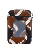 N'Gil BNB Quilted Credit Card ID Football Sports Wristlet Wallet Jp Brown Black