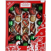 Holiday Time 60mm Christmas Ornaments Traditional Shatterproof, Set of 56, Red Green Gold Colour