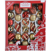 Holiday Time 60mm Christmas Ornaments Traditional Shatterproof, Set of 56, Red Gold Colour
