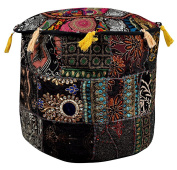 Designer Handmade Patchwork Embroidery Round Ottoman Floor Cushion Cover 18 X 46cm X 36cm