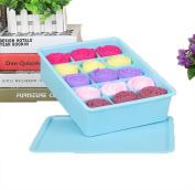 GAMT Plastic Underwear Bra Storage Box Fifteen Grid with a Lid Blue