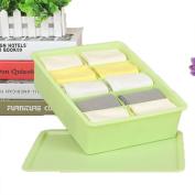 GAMT Plastic Underwear Bra Storage Box Ten Grid with a Lid Green
