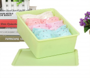 GAMT Plastic Underwear Bra Storage Box One Grid with a Lid Green