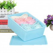GAMT Plastic Underwear Bra Storage Box One Grid with a Lid Blue