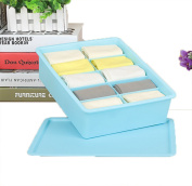 GAMT Plastic Underwear Bra Storage Box Ten Grid with a Lid Blue