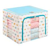 GAMT Oxford Cloths Steel Shelf Storage Box Cubes Baskets with Cute Bear Head for Clothing Quilts Blue
