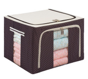 GAMT Oxford Cloths Steel Shelf Storage Box Cubes Baskets for Clothing Quilts Brown Dot