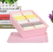 GAMT Plastic Underwear Bra Storage Box One Grid with a Lid pink