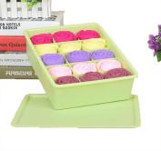 GAMT Plastic Underwear Bra Storage Box Fifteen Grid with a Lid Green