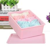 GAMT Plastic Underwear Bra Storage Box Ten Grid with a Lid pink