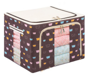 GAMT Oxford Cloths Steel Shelf Storage Box Cubes Baskets with Cute Bear Head for Clothing Quilts Brown