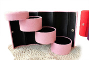 GAMT Retro Three - storey Portable Velvet Cylinder Jewellery Organiser Container PINK