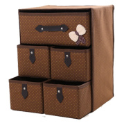 GAMT Non-woven Storage Box Cubes Baskets Organiser Drawers 5 Drawers(38cm30cm22cm) SQUARE