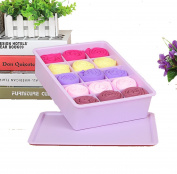 GAMT Plastic Underwear Bra Storage Box Fifteen Grid with a Lid Purple