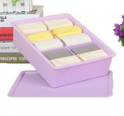 GAMT Plastic Underwear Bra Storage Box Ten Grid with a Lid Purple