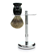 Saxon 100% Real Badger Hair Brush and Chrome Razor Stand Shaving Set ­For the Best Shave and Smooth Application of Shaving Cream Like an Old School Barbershop Shave