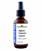 BEST Organic Premium Beard Oil   60ml Glass Bottle With Pump   Fragrance Free   Hydrate - Moisturise - Control